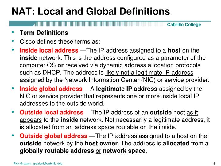 NAT: Local and Global Definitions
