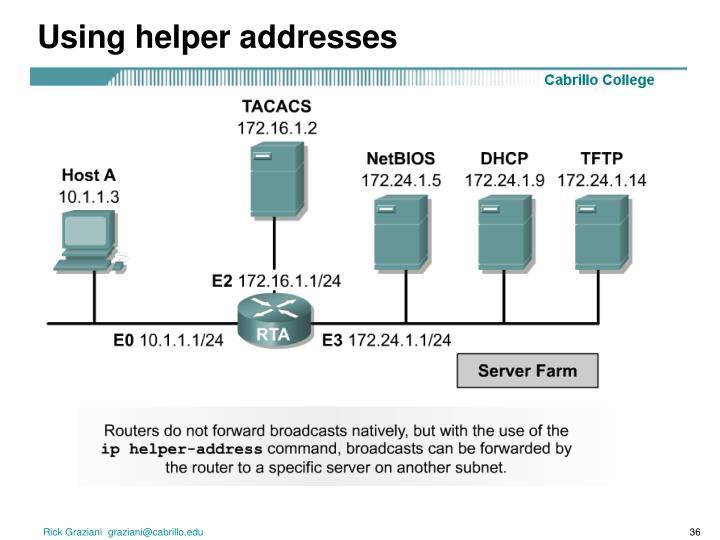 Using helper addresses