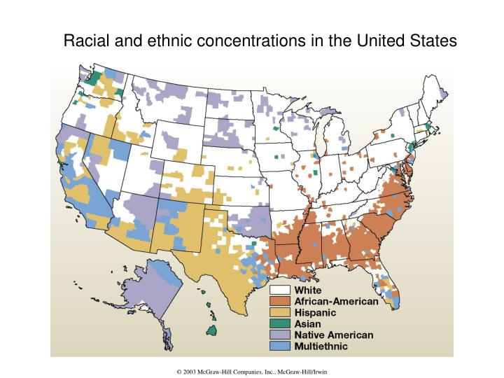 Racial and ethnic concentrations in the United States
