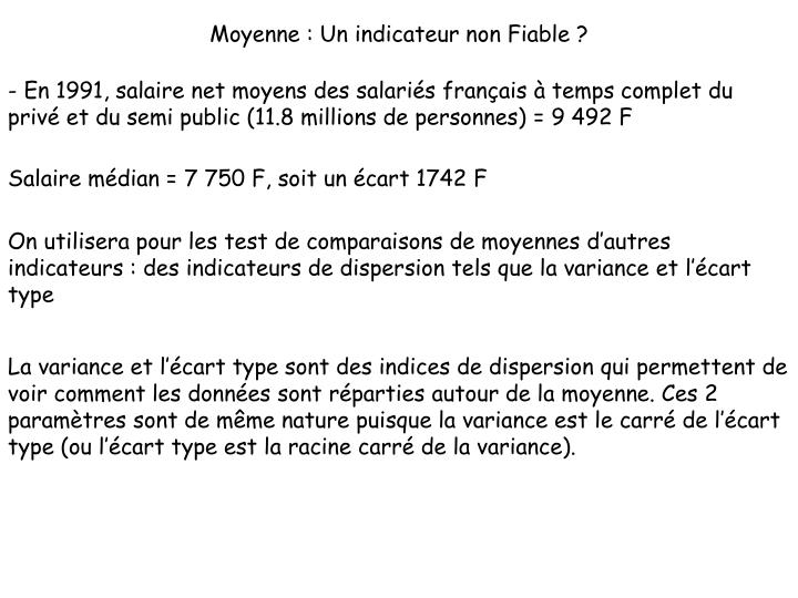 Moyenne : Un indicateur non Fiable ?