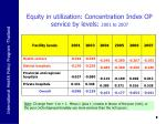 equity in utilization concentration index op service by levels 2001 to 2007