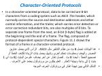 character oriented protocols