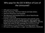 who pays for the 57 4 billion of care of the uninsured