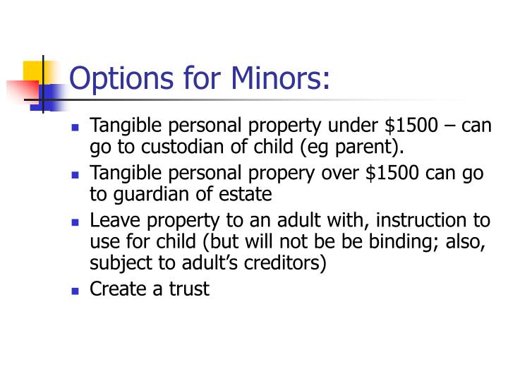 Options for Minors: