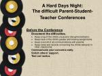 a hard days night the difficult parent student teacher conferences