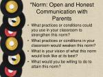 norm open and honest communication with parents