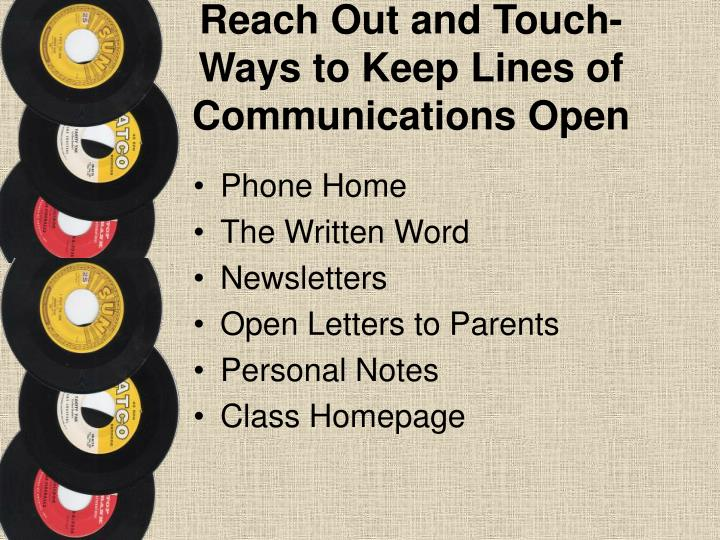 Reach Out and Touch-