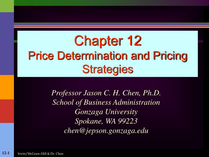 chapter 12 price determination and pricing strategies n.
