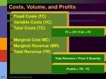 costs volume and profits