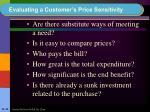 evaluating a customer s price sensitivity