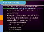 value in use pricing