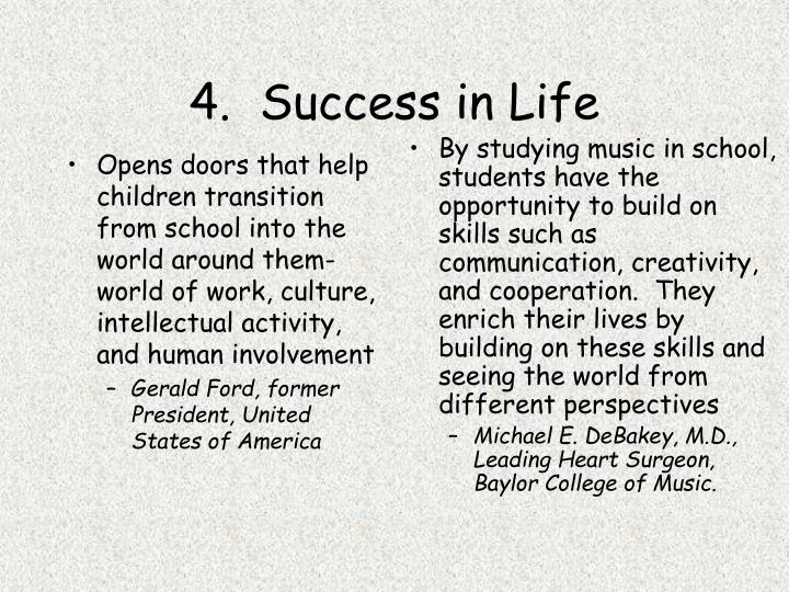 Opens doors that help children transition from school into the world around them-world of work, culture, intellectual activity, and human involvement