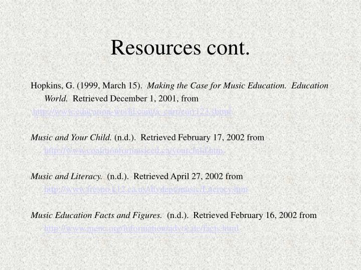 Resources cont.