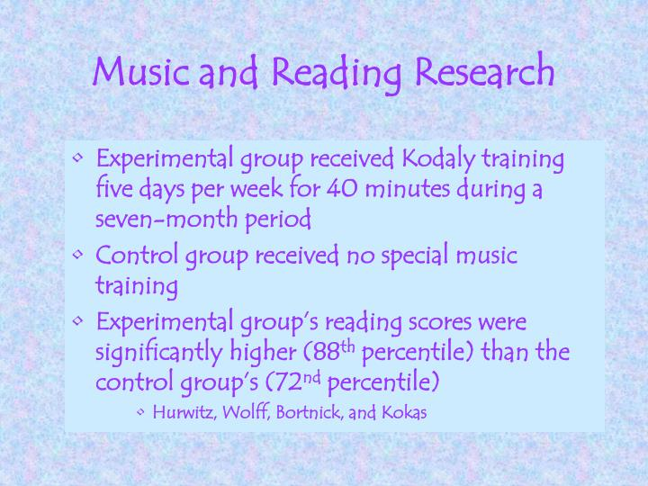 Music and Reading Research