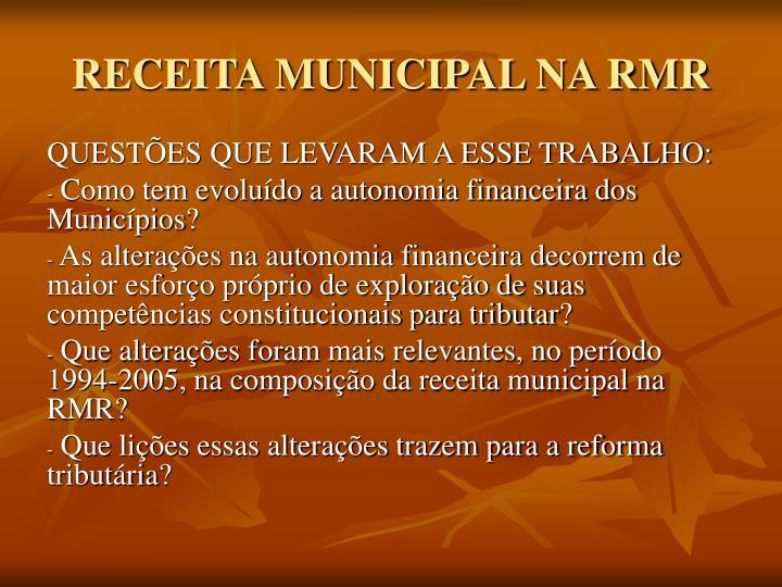 Receita municipal na rmr