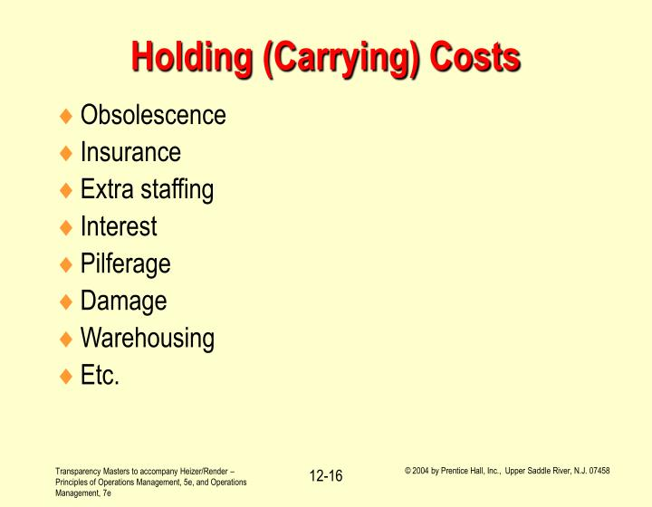 Holding (Carrying) Costs