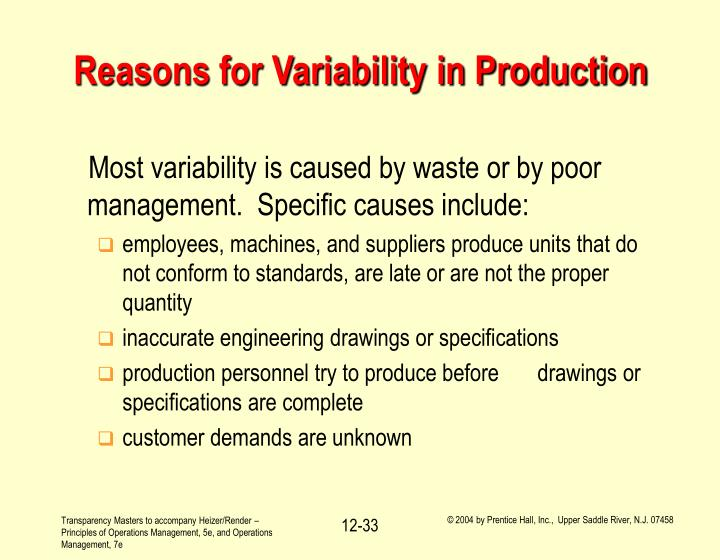 Reasons for Variability in Production
