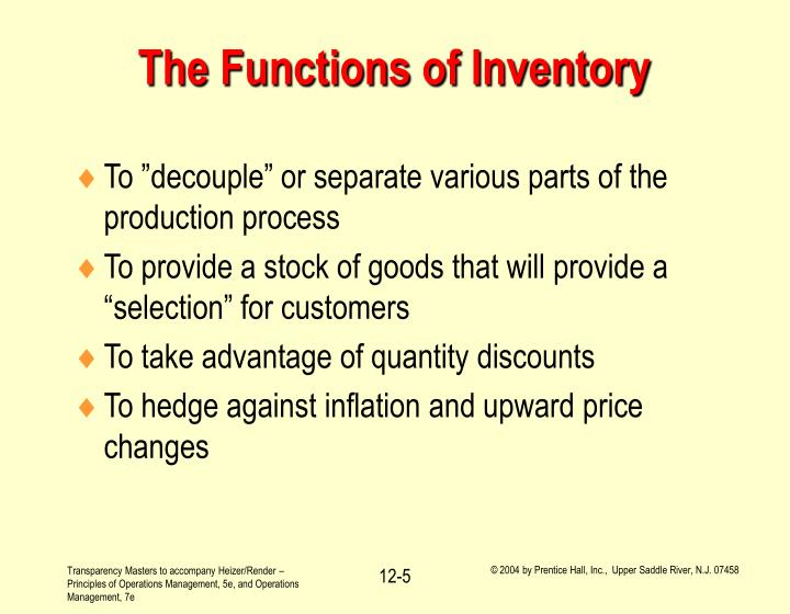 The Functions of Inventory