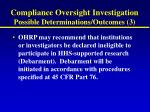 compliance oversight investigation possible determinations outcomes 3
