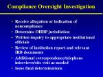 compliance oversight investigation