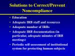 solutions to correct prevent noncompliance
