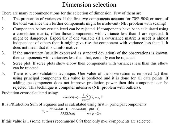 Dimension selection