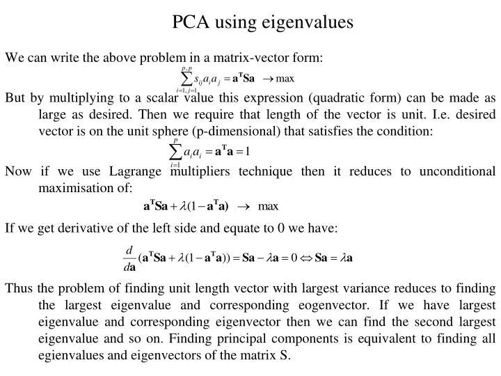 PCA using eigenvalues