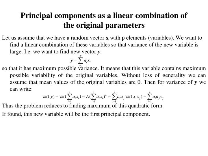 Principal components as a linear combination of the original parameters