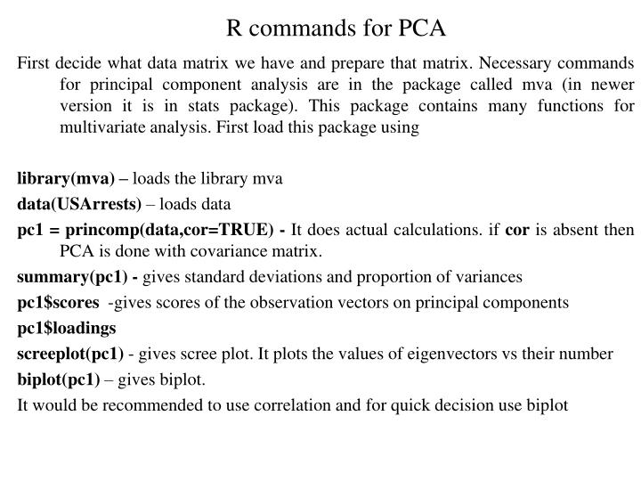 R commands for PCA