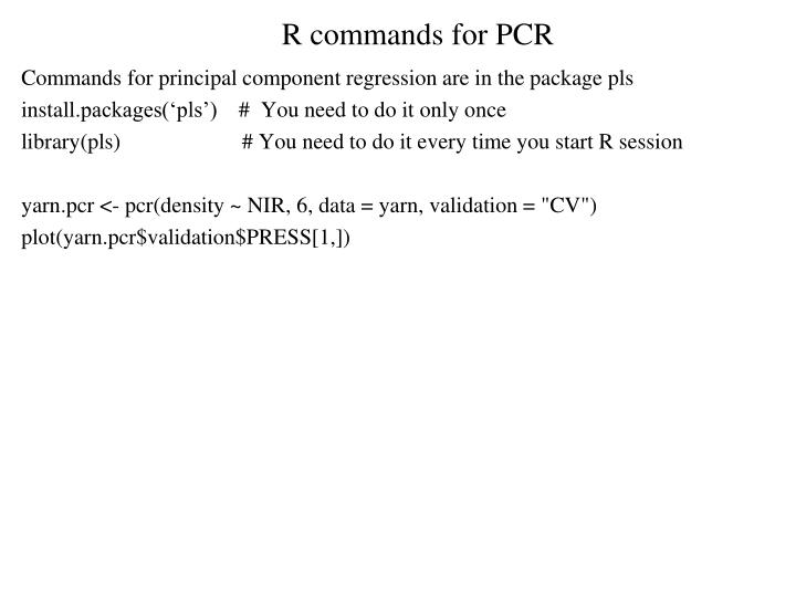 R commands for PCR