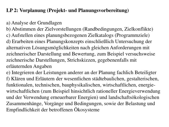 LP 2: Vorplanung (Projekt- und Planungsvorbereitung)