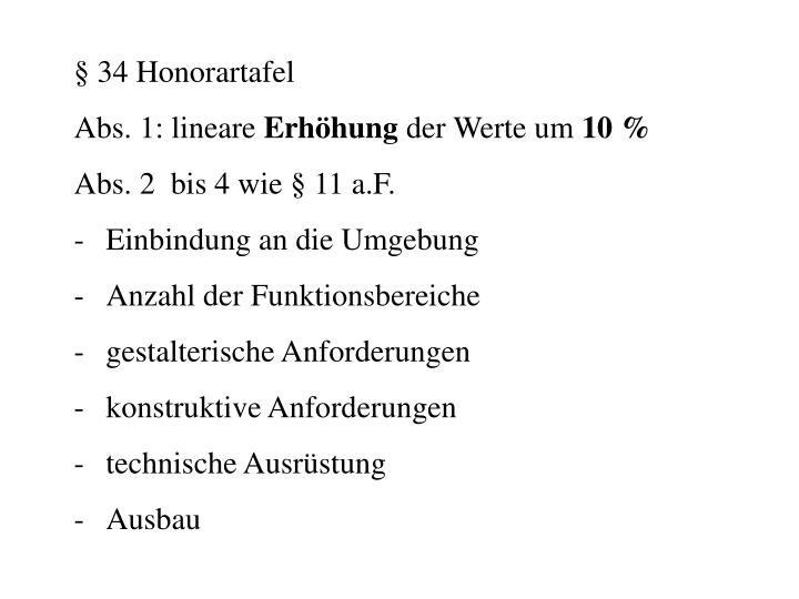 § 34 Honorartafel