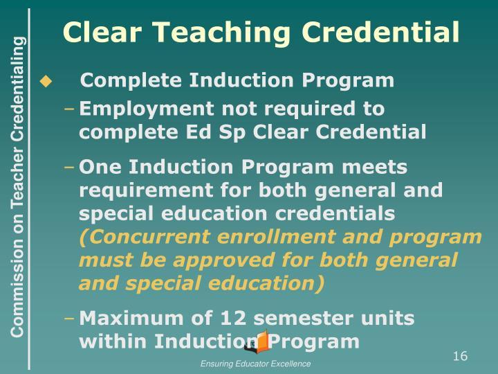 Clear Teaching Credential