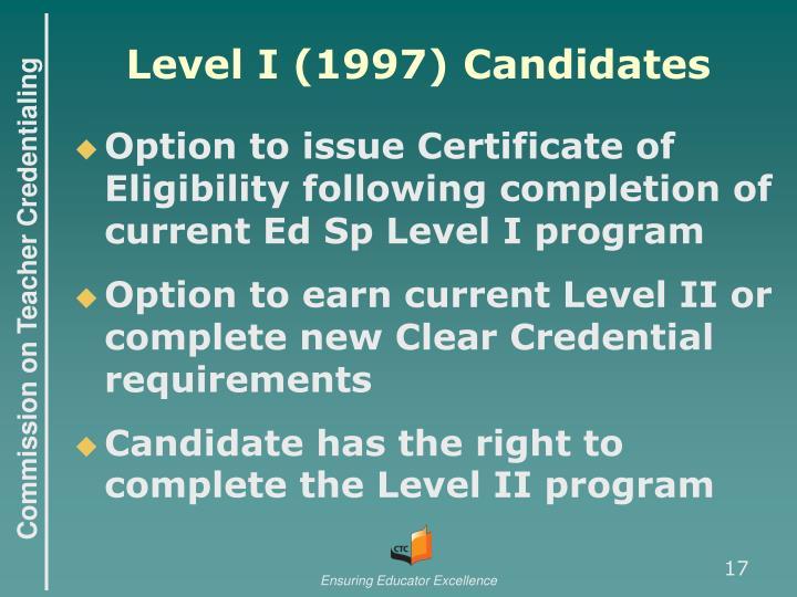 Level I (1997) Candidates