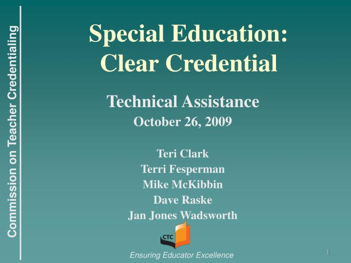 Special education clear credential