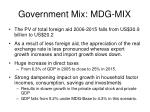 government mix mdg mix