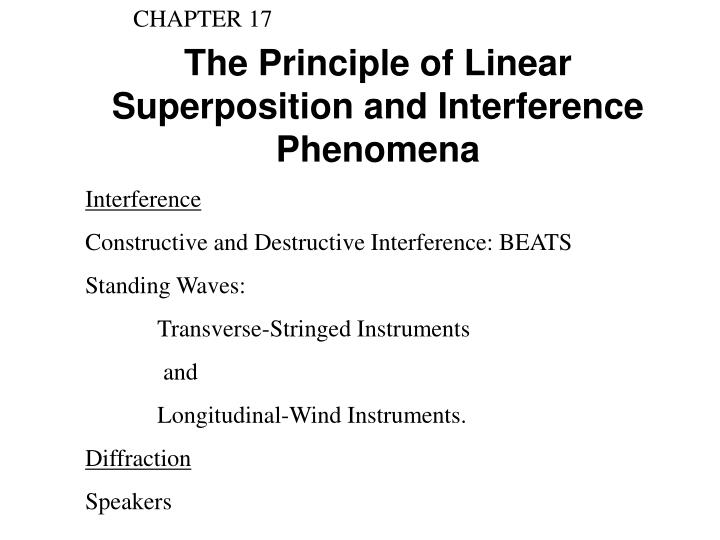 the principle of linear superposition and interference phenomena n.