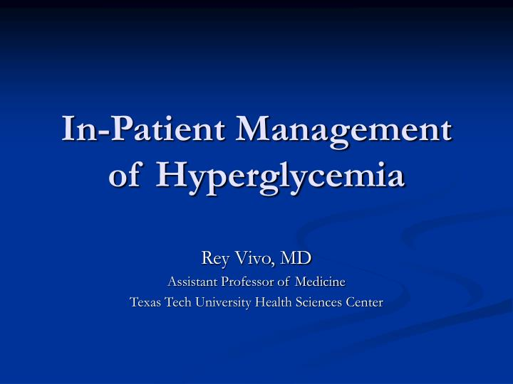 in patient management of hyperglycemia n.