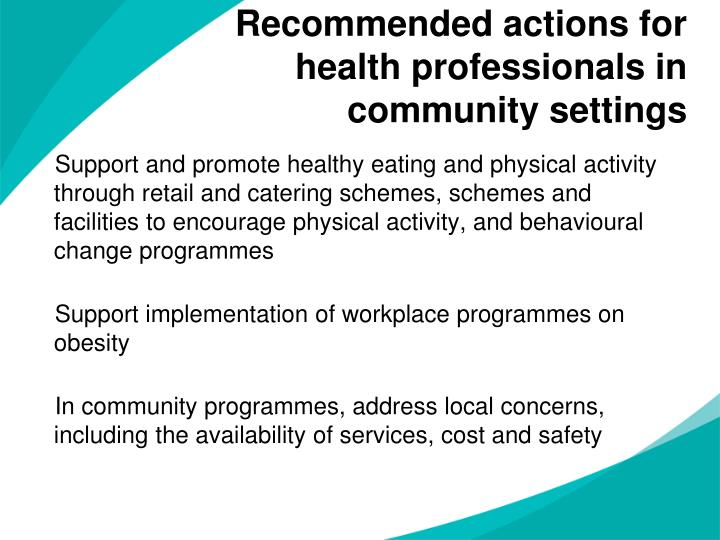 Recommended actions for health professionals in community settings