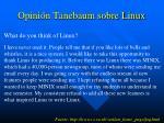 opini n tanebaum sobre linux