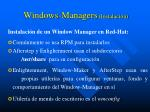 windows managers instalaci n