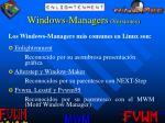 windows managers versiones