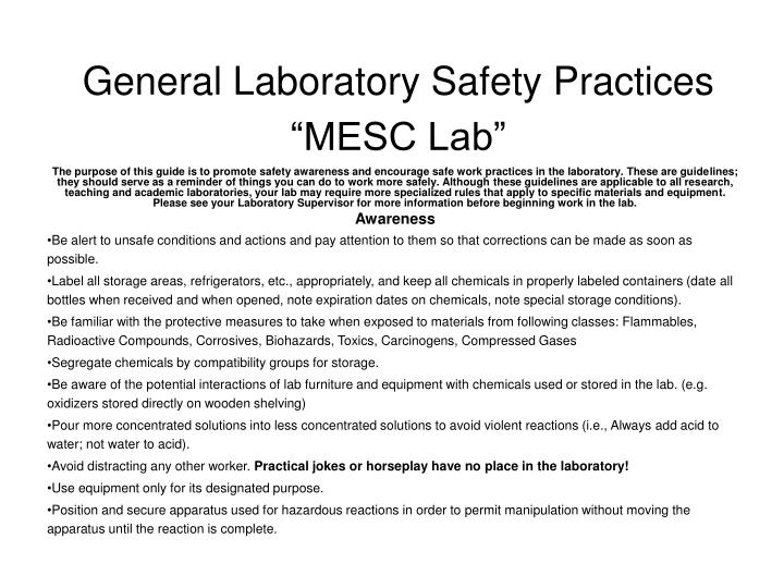 general laboratory safety practices mesc lab n.