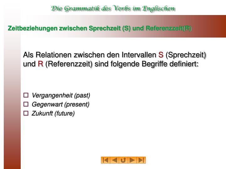Zeitbeziehungen zwischen Sprechzeit (S) und Referenzzeit(R)