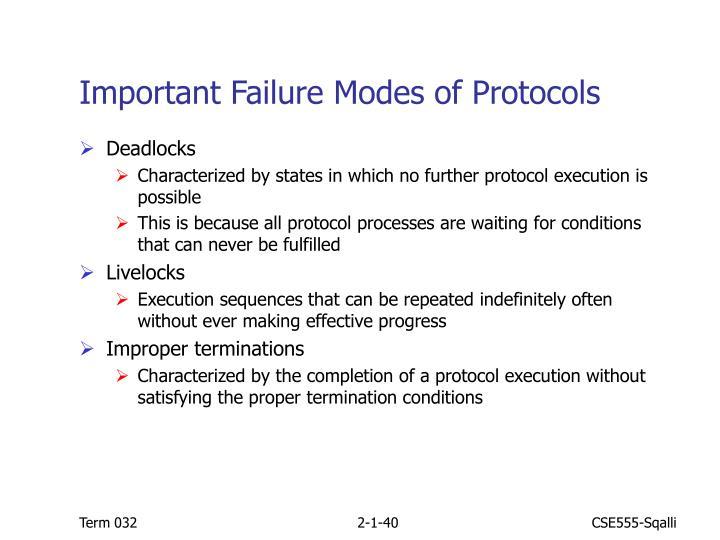 Important Failure Modes of Protocols