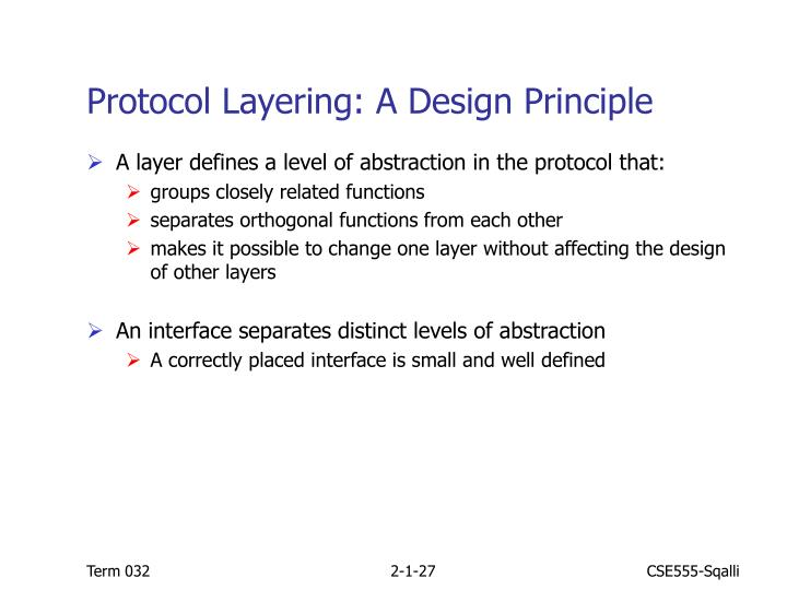 Protocol Layering: A Design Principle