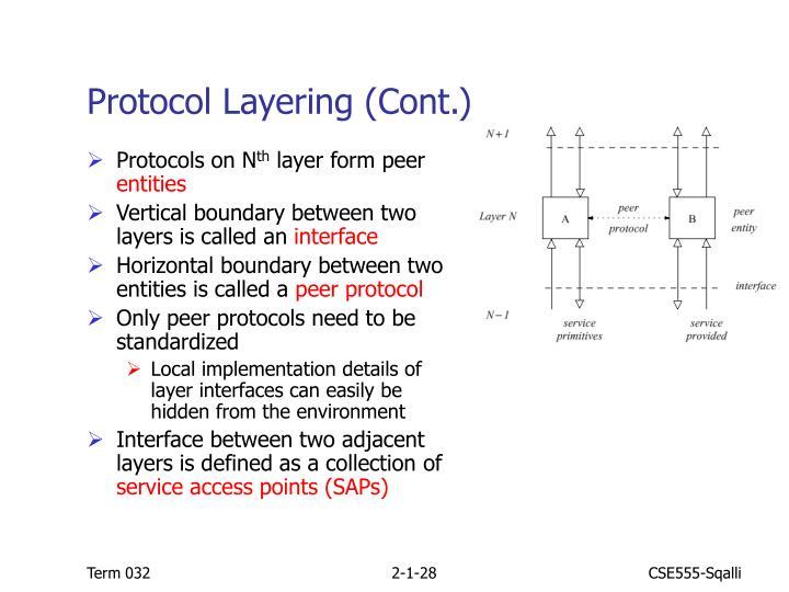 Protocol Layering (Cont.)
