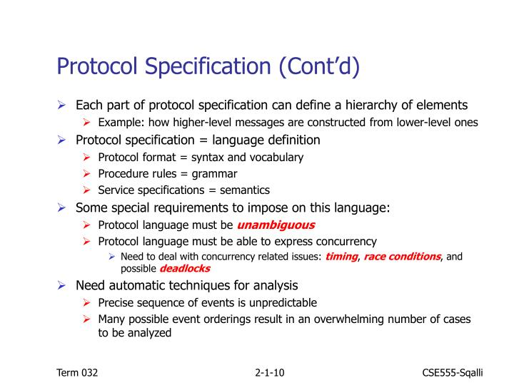 Protocol Specification (Cont'd)