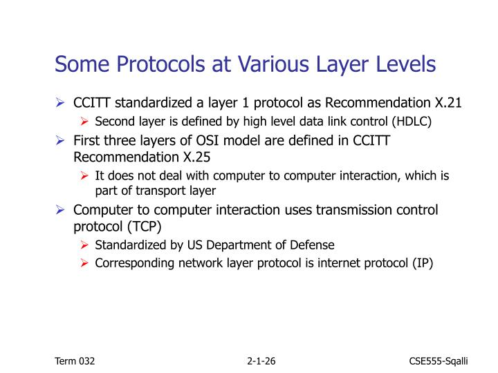 Some Protocols at Various Layer Levels