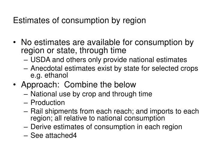 Estimates of consumption by region